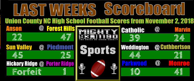 @ Friday Night Scoreboard LAST WEEKS     Union County NC High School Football Scores from November 2, 2018 Anson   Forest Hills      22  47   Sun Valley Piedmont  @ 45  25 Hickory Ridge @  Porter Ridge  Forfeit   1        Monroe Parkwood 41 10 @      Weddington     Cuthbertson @  44 21  39 24 Catholic @                Marvin Sports  @